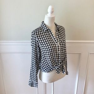 Nordstrom Tops - NORDSTROM Abound Weekend Tie Front Shirt Check